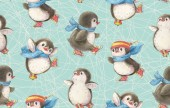 Fotografie Nahtlose Muster mit niedlichen Pinguine auf Schlittschuhen. Handgezeichnete Zeichnung mit Markern. Zeichnung in Aquarell und Tusche