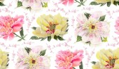 Fotografie Seamless pattern with watercolor flowers. Yellow and pink  Peonies. Hand-drawn illustration.