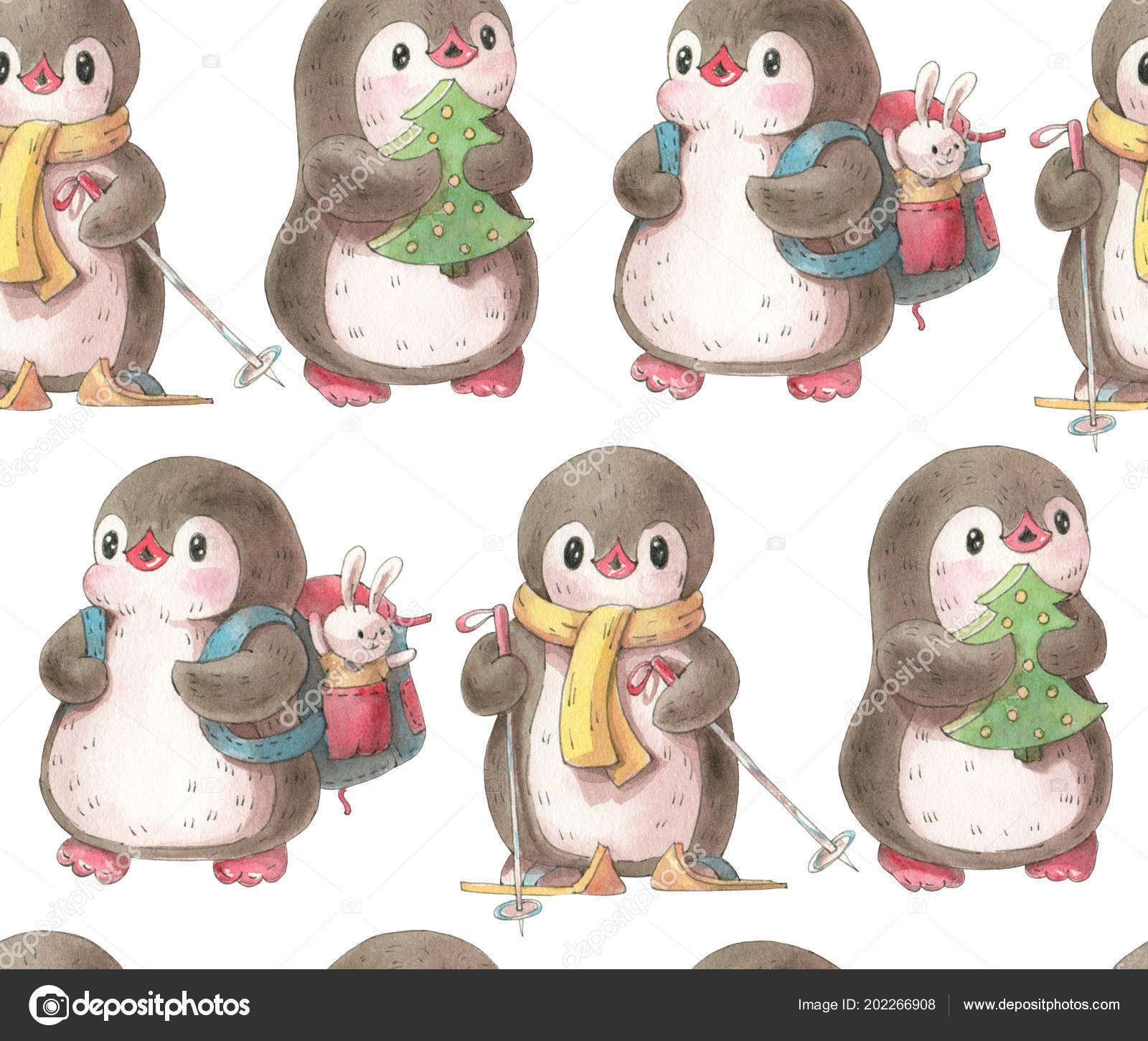 Patrón Sin Fisuras Con Pingüinos Lindo Ilustración Dibujado Mano ...
