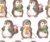 Fotografie Nahtlose Muster mit niedlichen Pinguine. Handgezeichnete Abbildung in Aquarell und Tusche