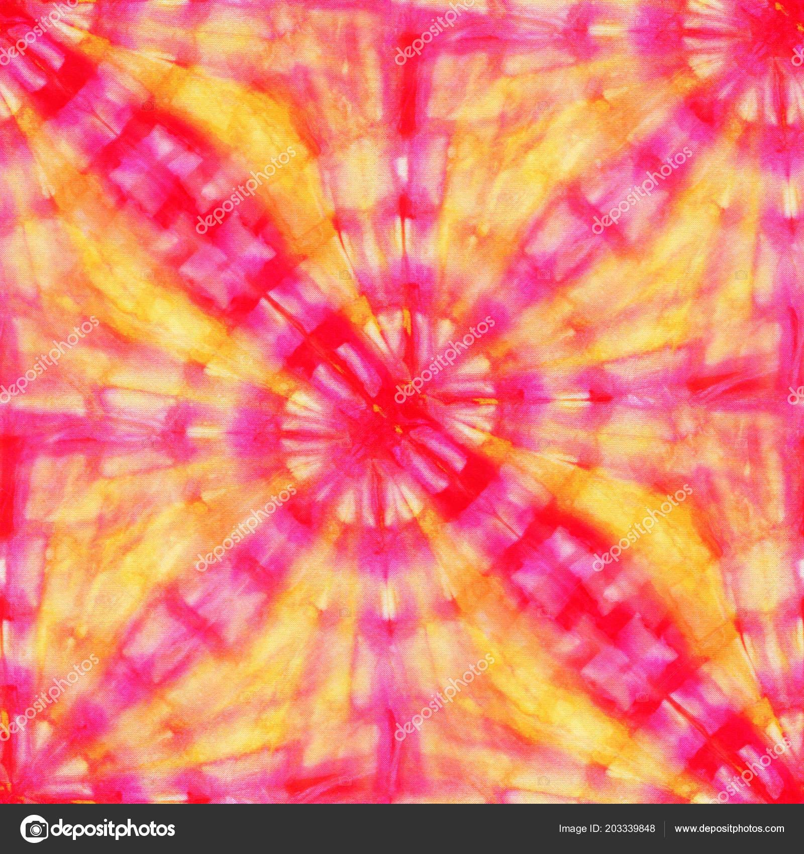 31722dc475b1 Seamless tie-dye pattern of red and yellow color on white silk. Hand  painting fabrics - nodular batik. Shibori dyeing.