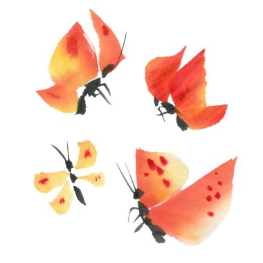 Orange watercolor butterflies isolated on a white background. Hand-drawn illustration.