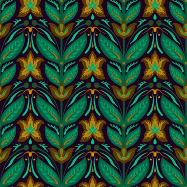 Bright Seamless pattern in retro style with fabric texture.