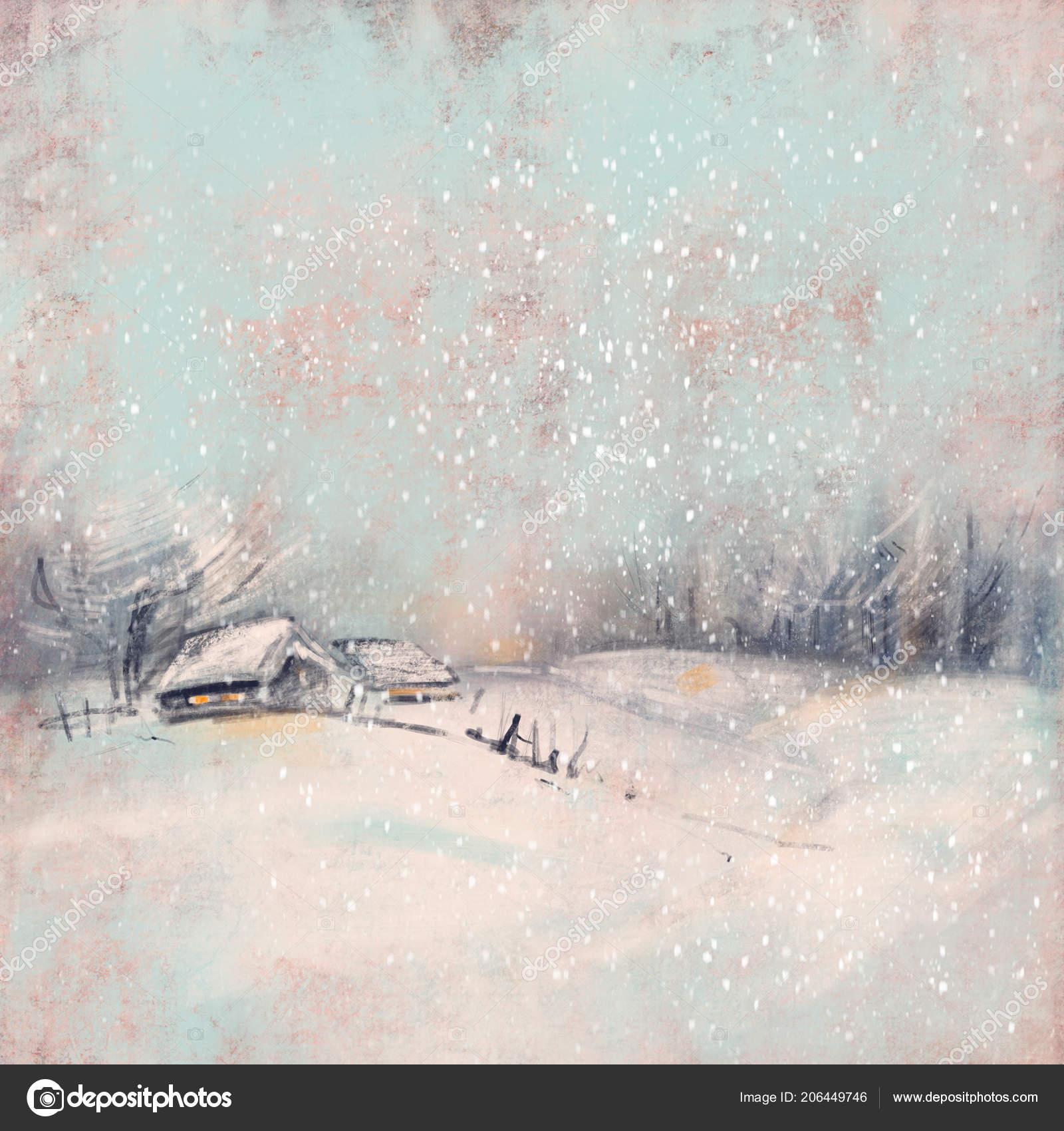 Zimni Krajina Malou Vesnici Pri Zapadu Slunce Pastelove Kresby Rucne