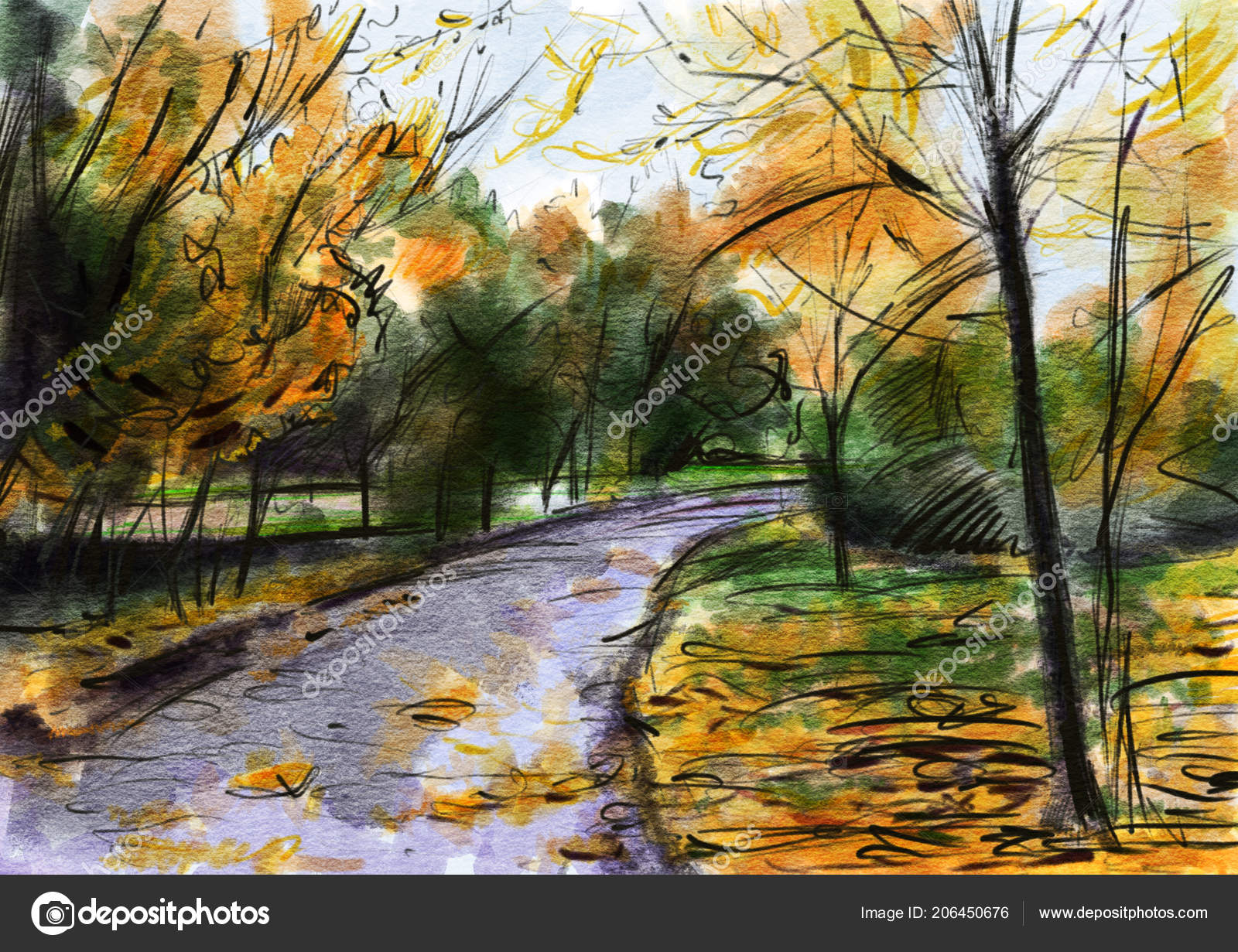Autumn Landscape Drawing Autumn Landscape Drawing Watercolor Color Pencil Hand Drawn Illustration Stock Photo C Tiff20 206450676