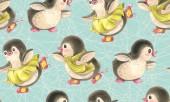 Vzor bezešvé s roztomilé tučňáky. Ručně kreslené ilustrace