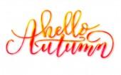 Ruční nápis Hello podzimu jasný nápis izolované na bílém