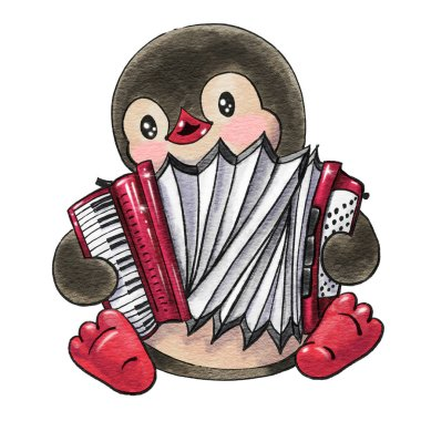 Funny cartoon penguin  with the accordion  isolated on a white background. Drawing in watercolor and ink.