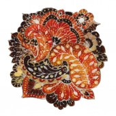 Paisley. The intricate batik pattern with texture of fabric.  Element for design. Hand-drawn illustration.