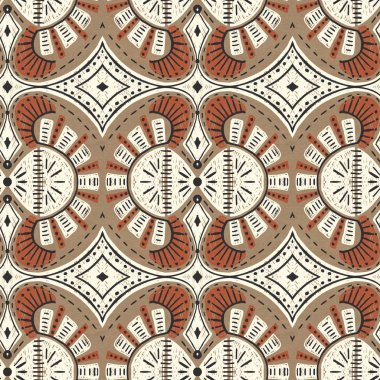 Seamless pattern with stylized ethnic pattern. Drawing in ink  on Kraft paper.  Hand-drawn illustration. stock vector
