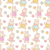 Photo Seamless pattern with funny cartoon Bunnies. Drawing with pastels. Hand-drawn illustration.