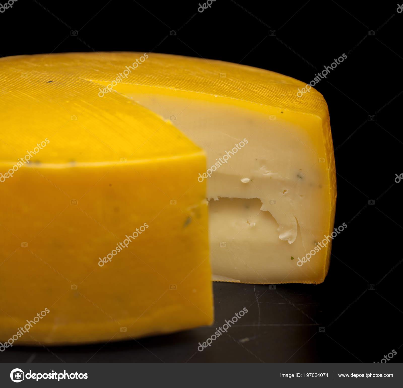 Full Wheel Semi Hard Cheese Azores Portugal Black Slate Board