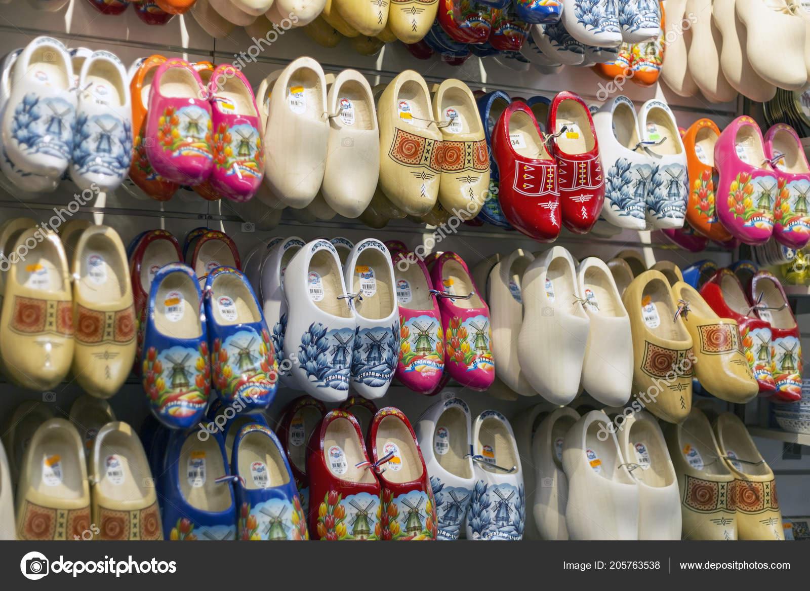 Amsterdam Netherlands July 2018 Klomp Dutch Wooden Shoes Shop Window