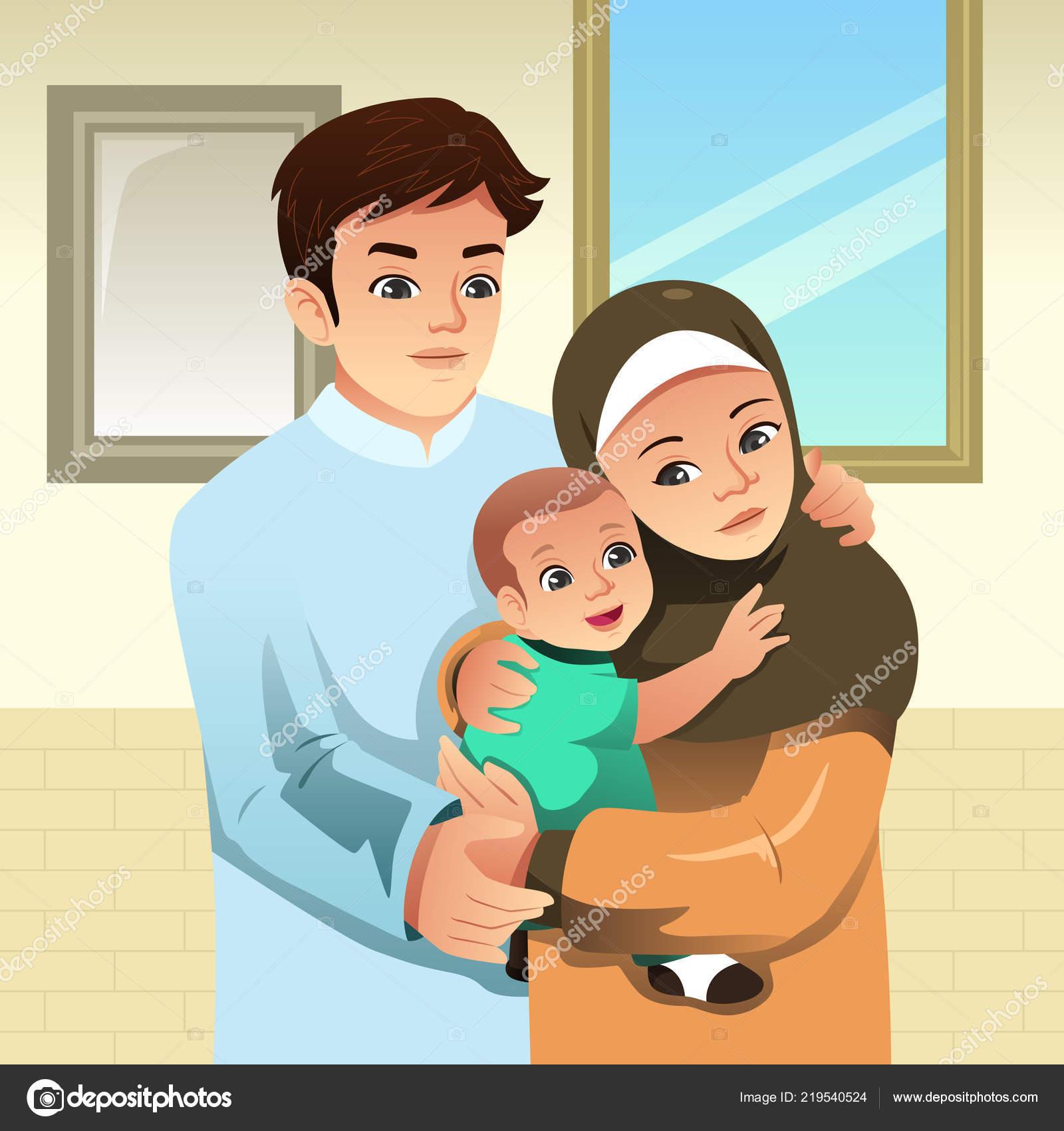 Áˆ Muslim Family Cartoon Stock Vectors Royalty Free Muslim Family Smile Illustrations Download On Depositphotos
