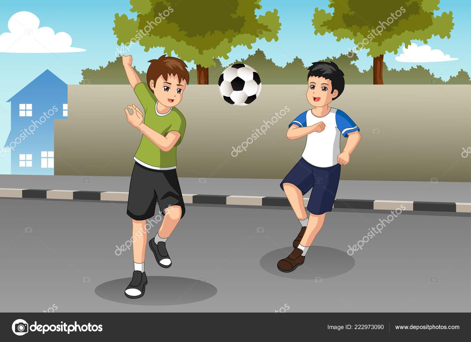 Una Ilustracion Vectorial Ninos Jugando Futbol Calle Vector De