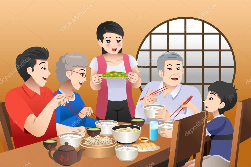 A Vector Illustration Of Chinese Family Eating Together At Home Premium Vector In Adobe Illustrator Ai Ai Format Encapsulated Postscript Eps Eps Format