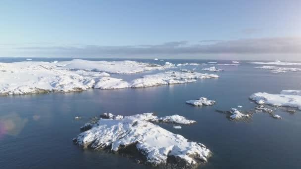 Antarctica polar ocean seascape aerial flight view
