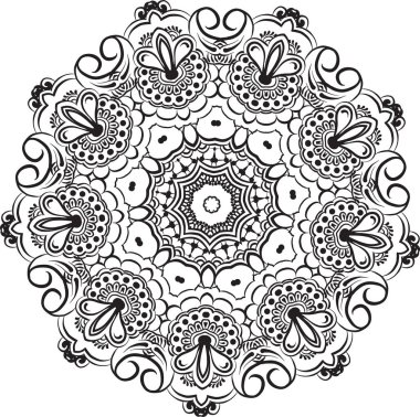abstract vector with floral round lace mandala, decorative element in ethnic tribal style, black line art on a white background
