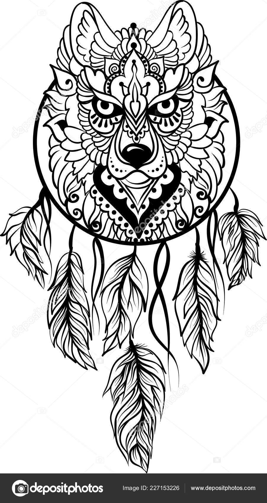 illustrazione disegno lupo tribale disegno lupo stile