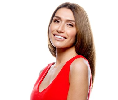 portrait of attractive  caucasian smiling woman blond isolated on white studio shot red dress toothy smile face long hair head and shoulders looking at camera