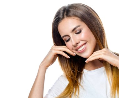beauty portrait of attractive young caucasian smiling woman brunette isolated on white studio shot  lips toothy smile facer head and shoulders cheerful teeth neck hand eyes closed