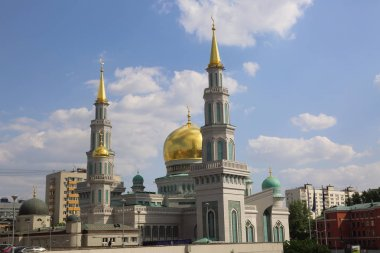 MOSCOW, RUSSIA - MAY 13, 2018: The newly built Cathedral Mosque which was built on the site of older, smaller mosque at Olimpiysky Avenue in Moscow, Russia. The largest and highest in Europe Muslim mosque.
