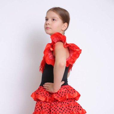 Studio image of european teen girl as a flamenco (Spanish) dancer