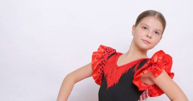 Studio image of european teen girl as a flamenco (Spanish) dancer