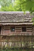 Polonia, Sanok - 05 agosto 2018: Autentici vecchi edifici in legno presso il museo etnografico di Sanok, Polonia. Il museo allaperto Skansen a Sanok è il più grande della Polonia.