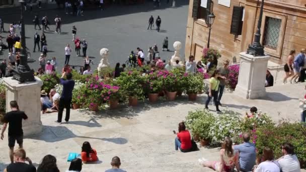 ROME, ITALY - APRIL 18, 2019: Spanish Steps, Piazza di Spagna, the Trinita dei Monti. Rome, Italy.