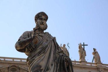 VATICAN, ROME, ITALY - APRIL 18, 2019: Art details on buildings (exterior) in Vatican.