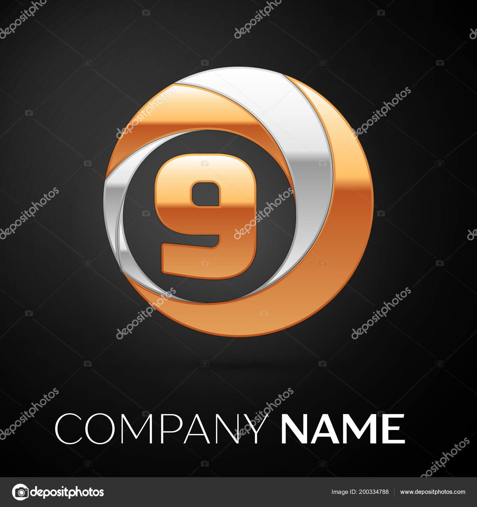 Number Nine Logo Symbol In The Golden Silver Colorful Circle On