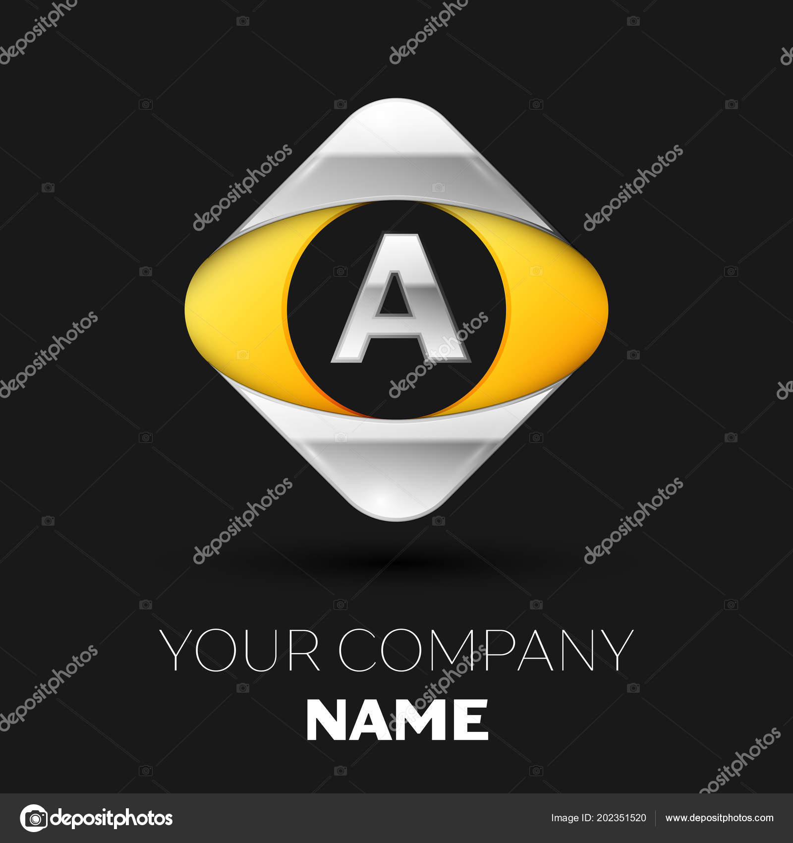 Realistic Silver Letter A Logo Symbol In The Colorful Silver Yellow