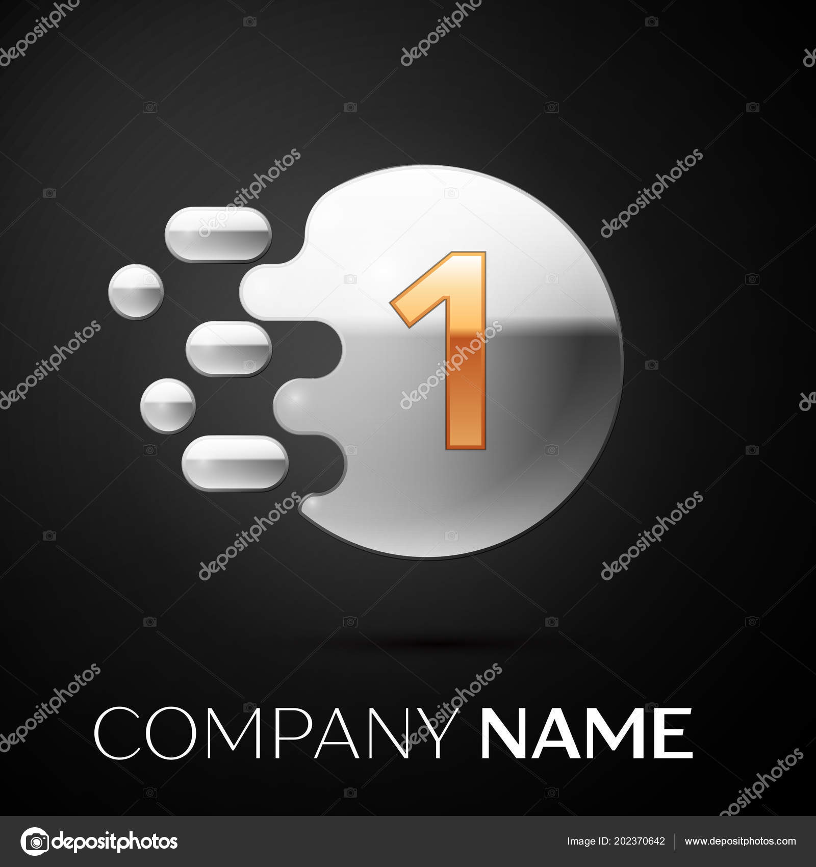 gold number one logo silver dots splash and abstract liquid bubble