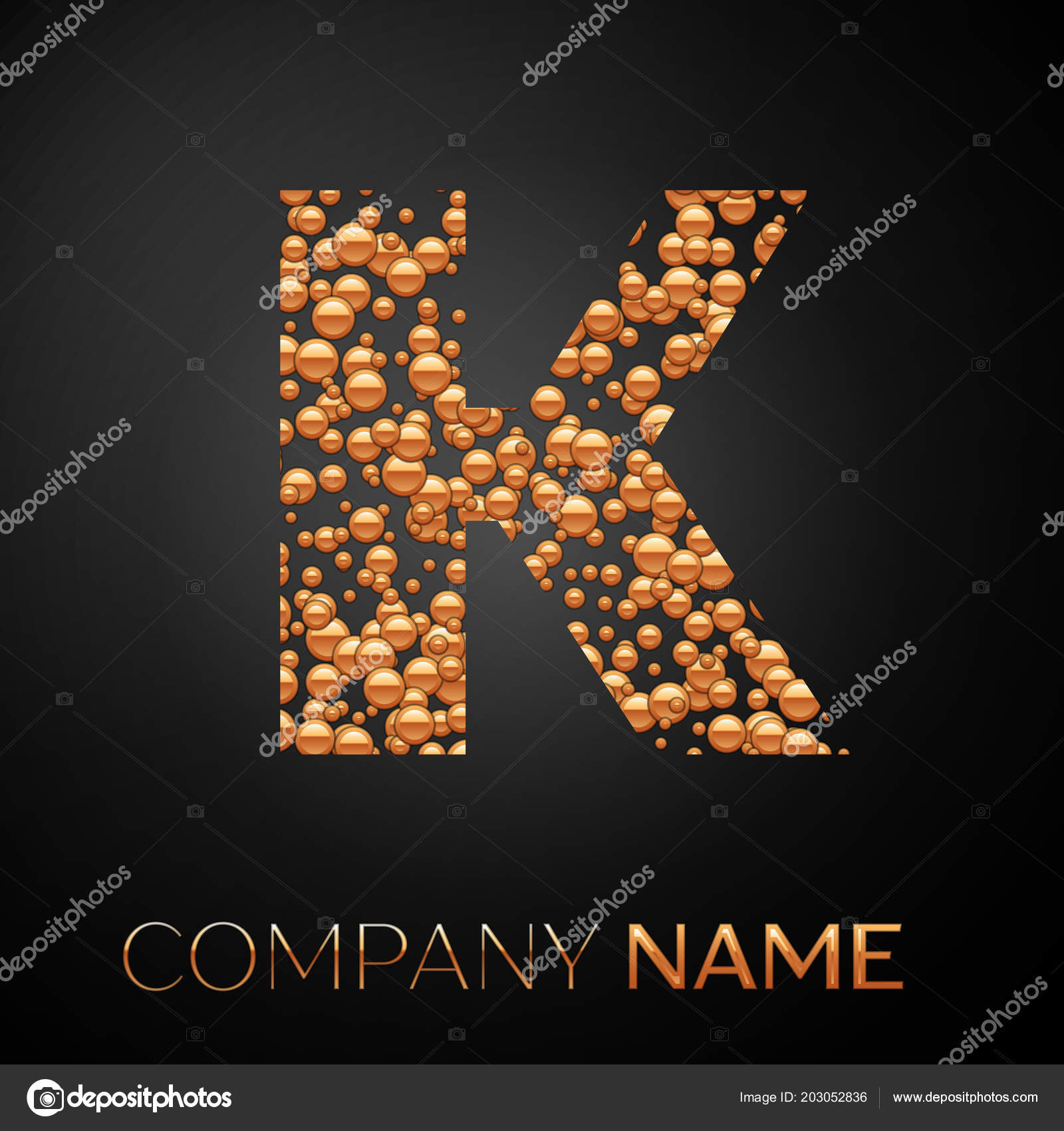 letter k logo gold dots alphabet logotype with abstract golden