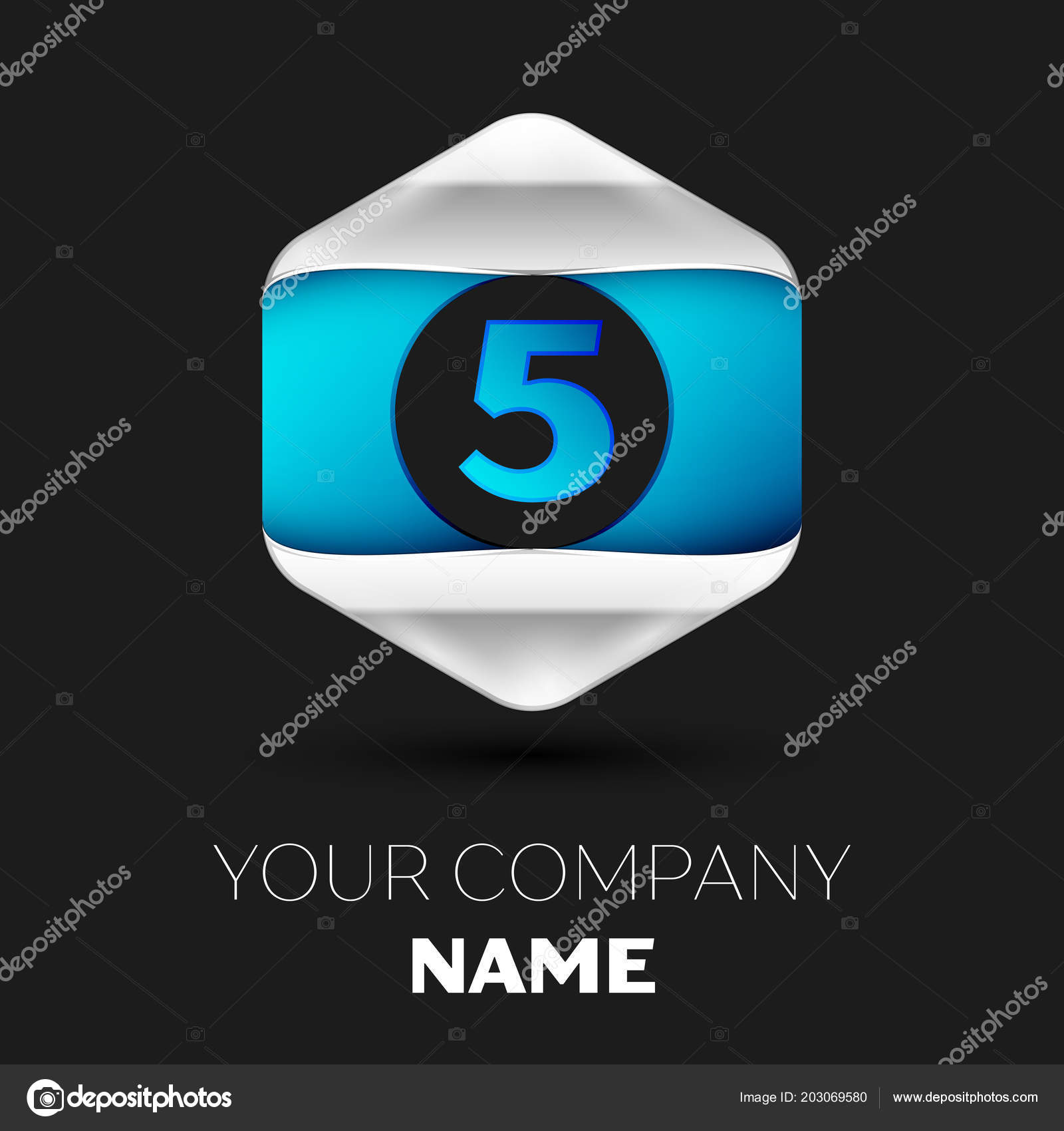 Realistic Blue Number Five Logo Symbol In The Colorful Silver Blue