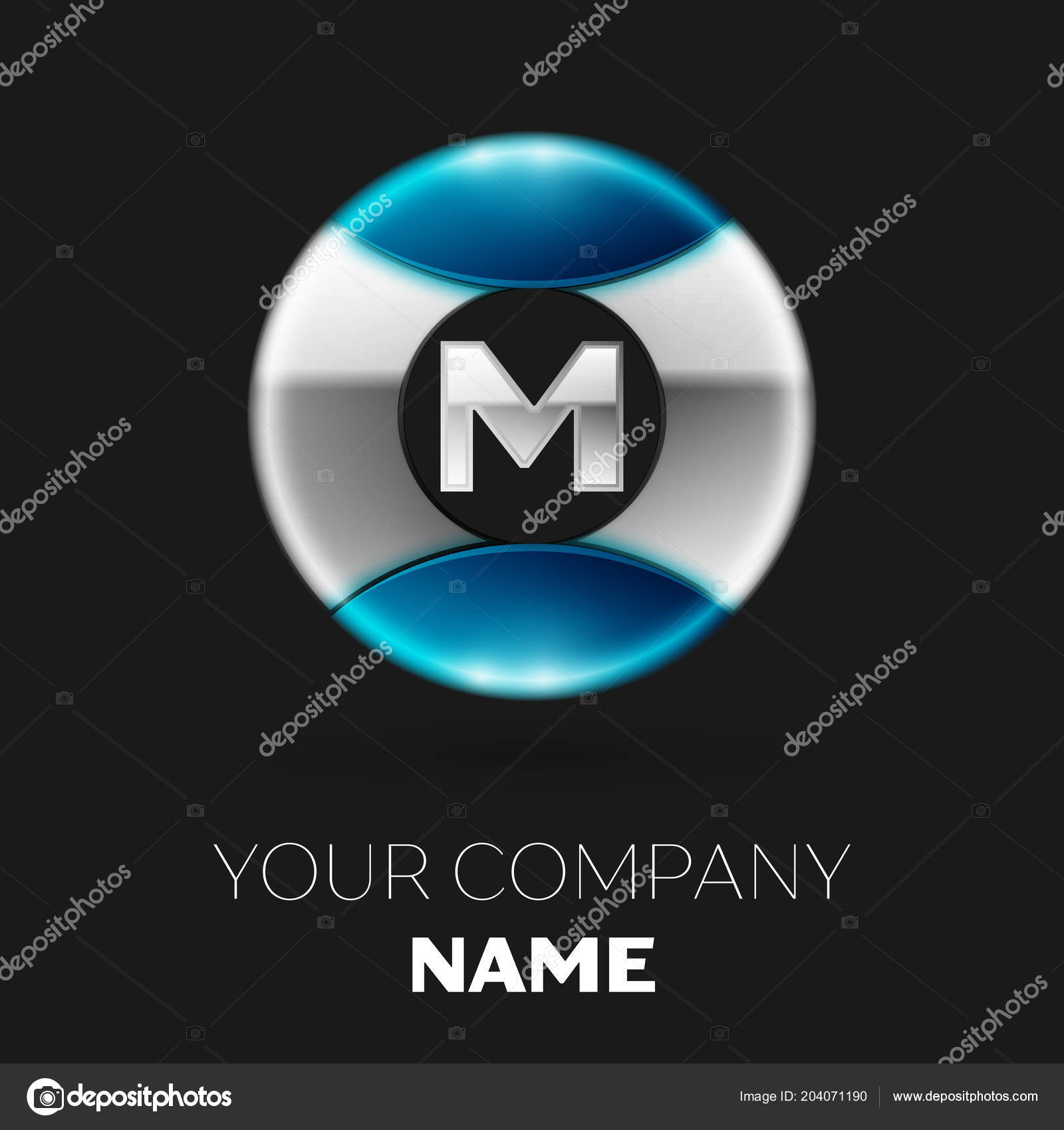 Realistic Silver Letter M Logo Symbol In The Silver Blue Colorful