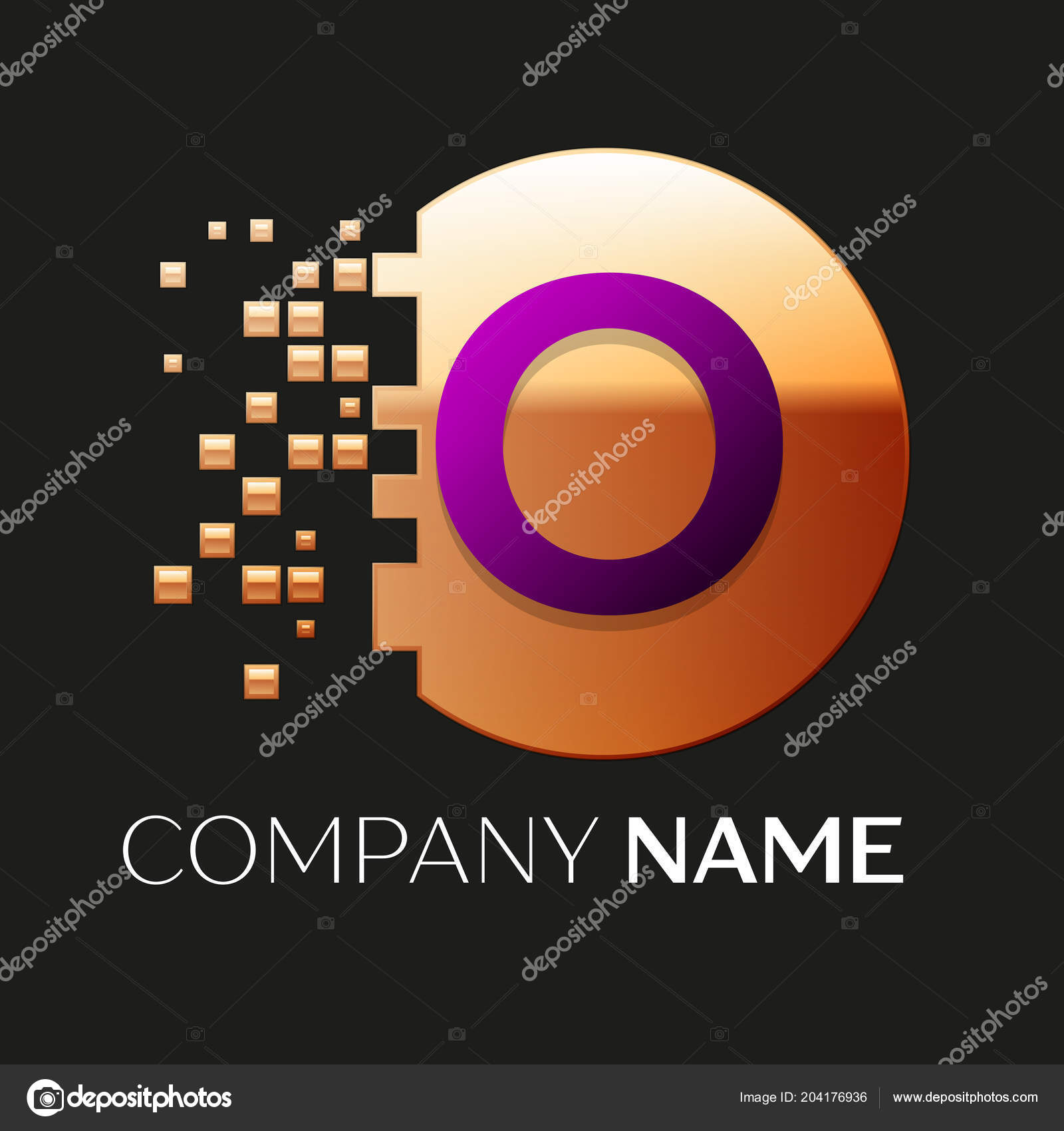 realistic purple letter o logo symbol in the golden colorful pixel