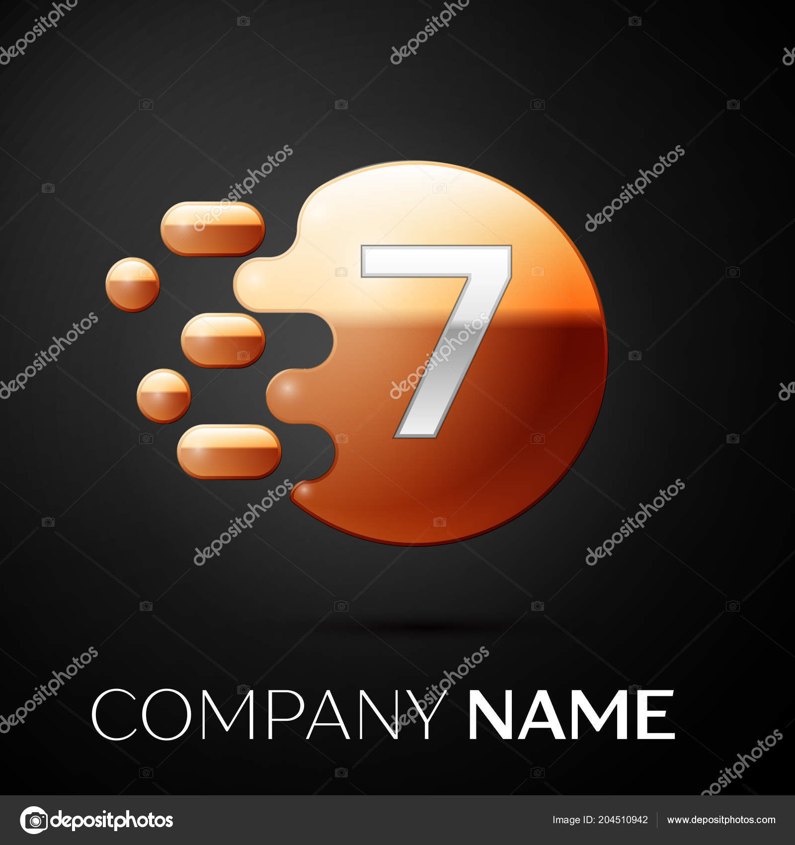 silver number seven logo gold dots splash and abstract liquid