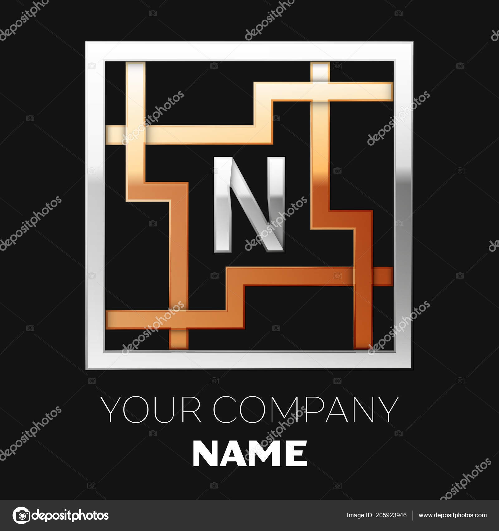 Realistic Silver Letter N Logo Symbol In The Silver Golden Colorful