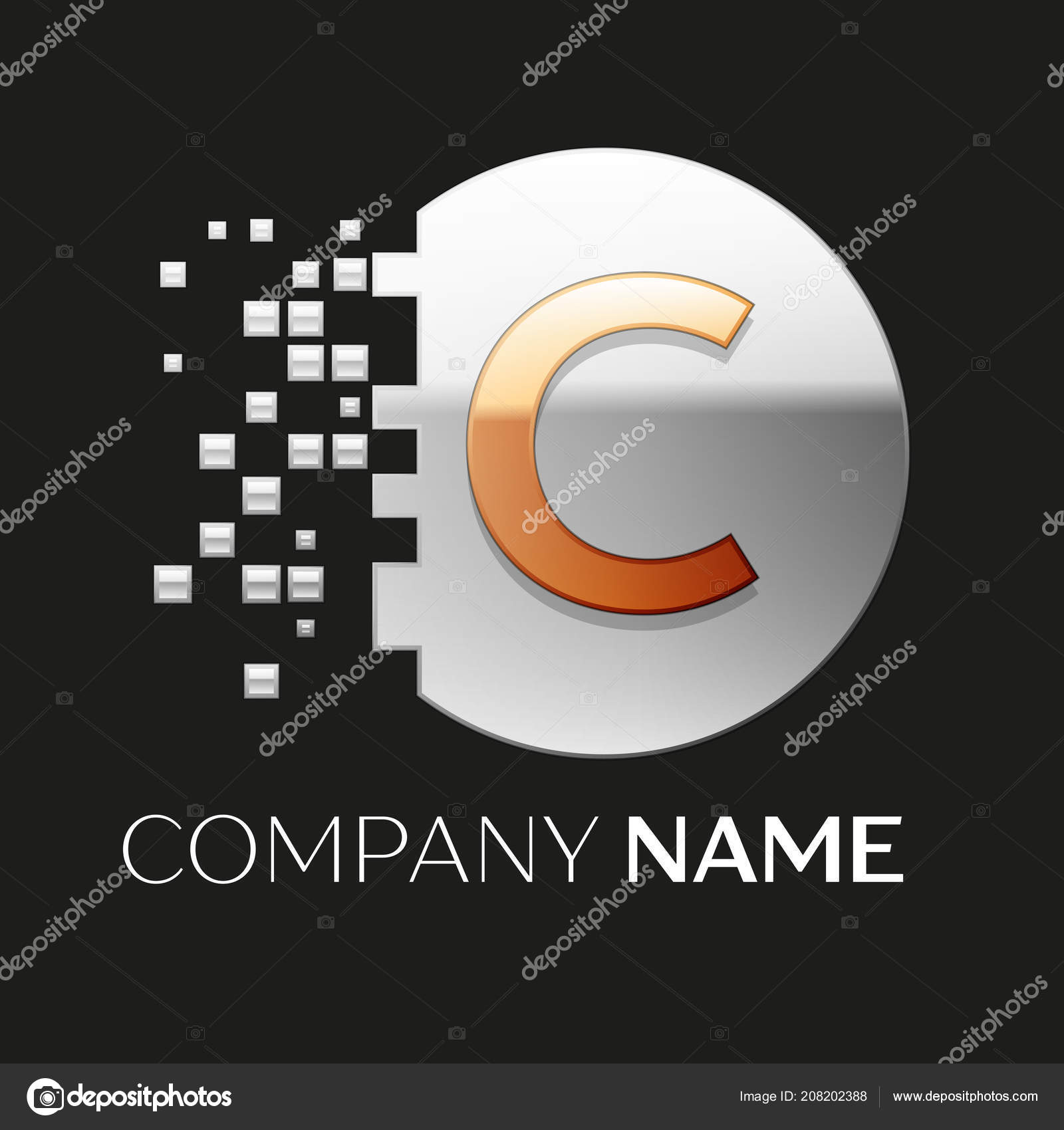 realistic golden letter c logo symbol in the silver colorful pixel