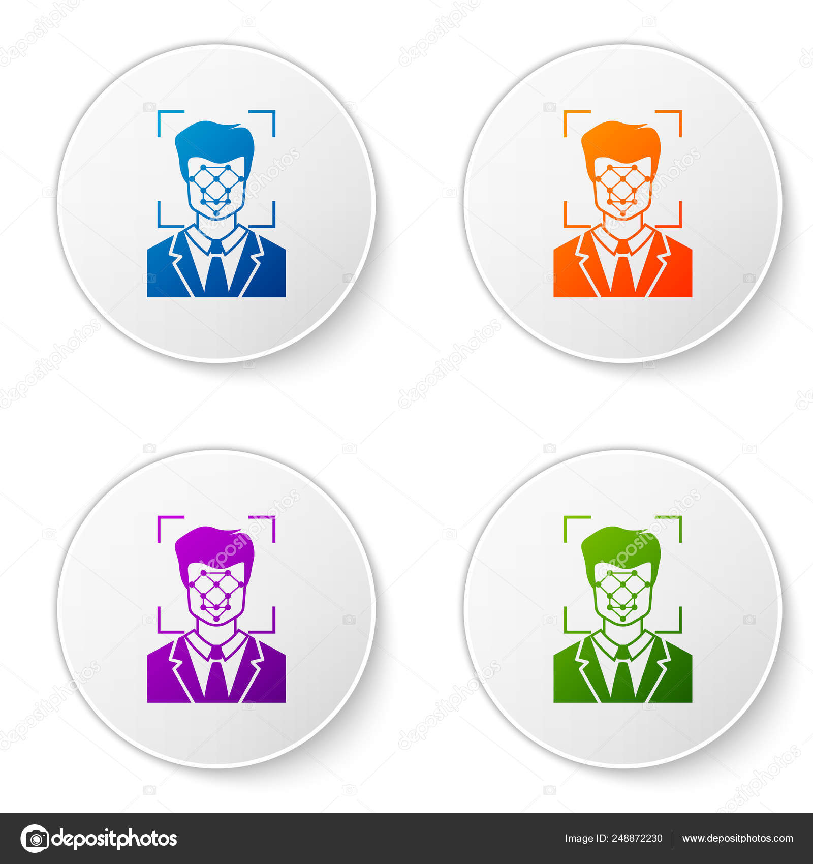 Color Face recognition icon isolated on white background