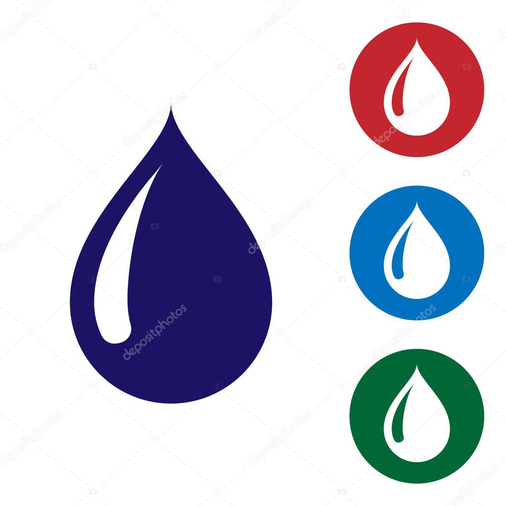 Blue Water drop icon isolated on white background. Set color icon in circle buttons. Vector Illustration
