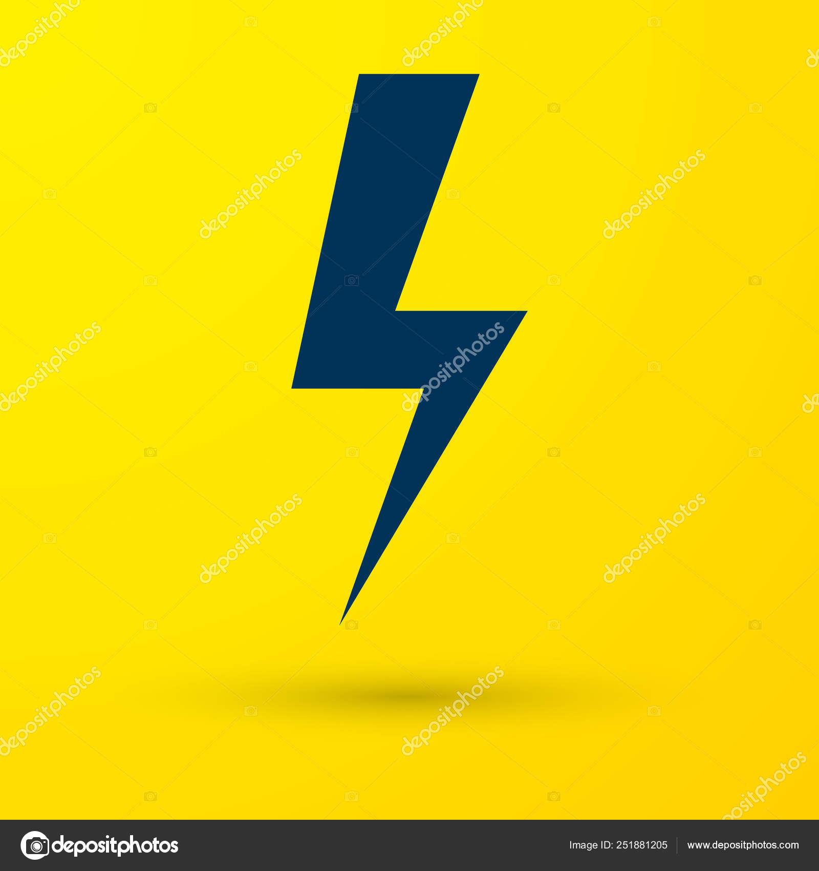 Blue Lightning Bolt Icon Isolated On Yellow Background Flash Icon Charge Flash Icon Thunder Bolt Lighting Strike Vector Illustration Stock Vector C Vectorvalera Gmail Com 251881205
