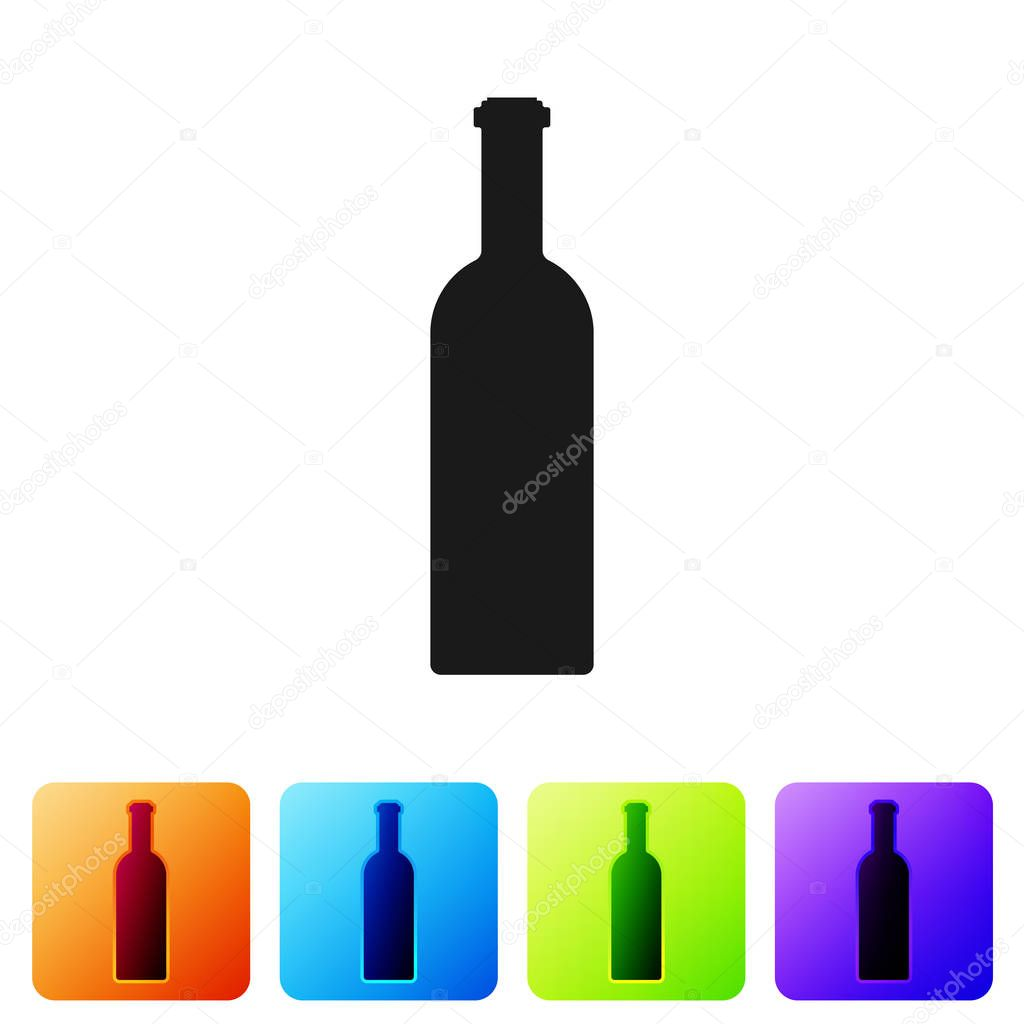 Black Bottle of wine icon isolated on white background. Set icon in color square buttons. Vector Illustration