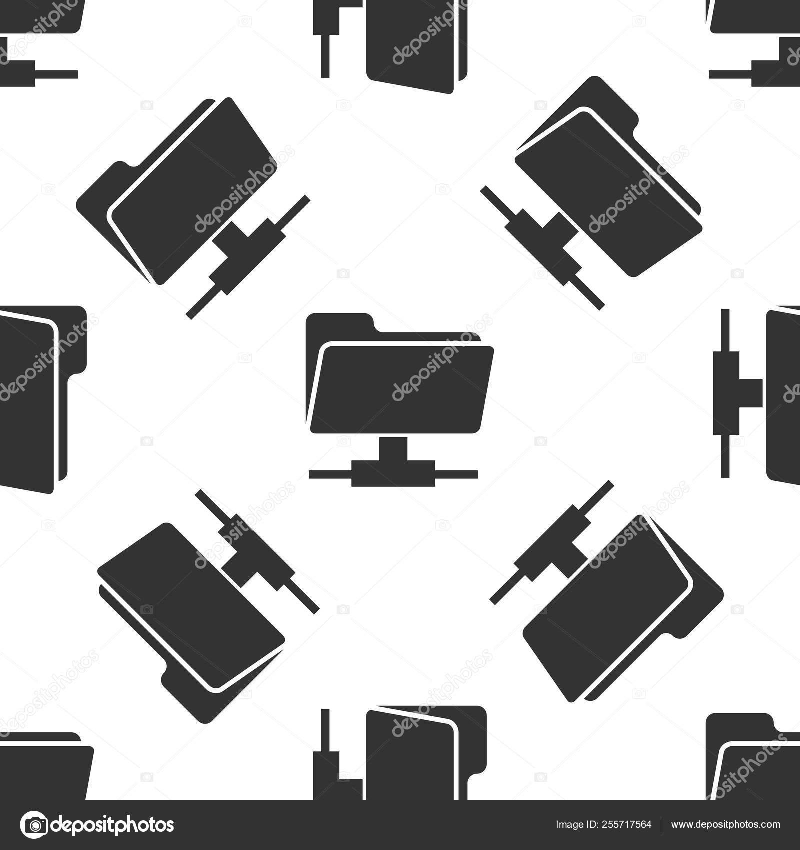 Grey FTP folder icon seamless pattern on white background