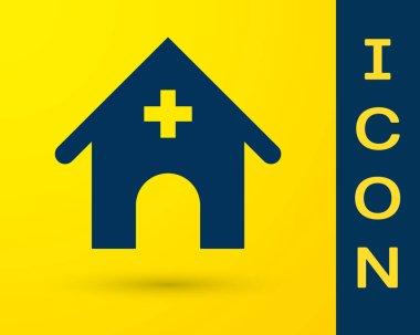 Blue Veterinary medicine hospital, clinic or pet shop for animals icon isolated on yellow background. Vet or veterinarian clinic. Vector Illustration