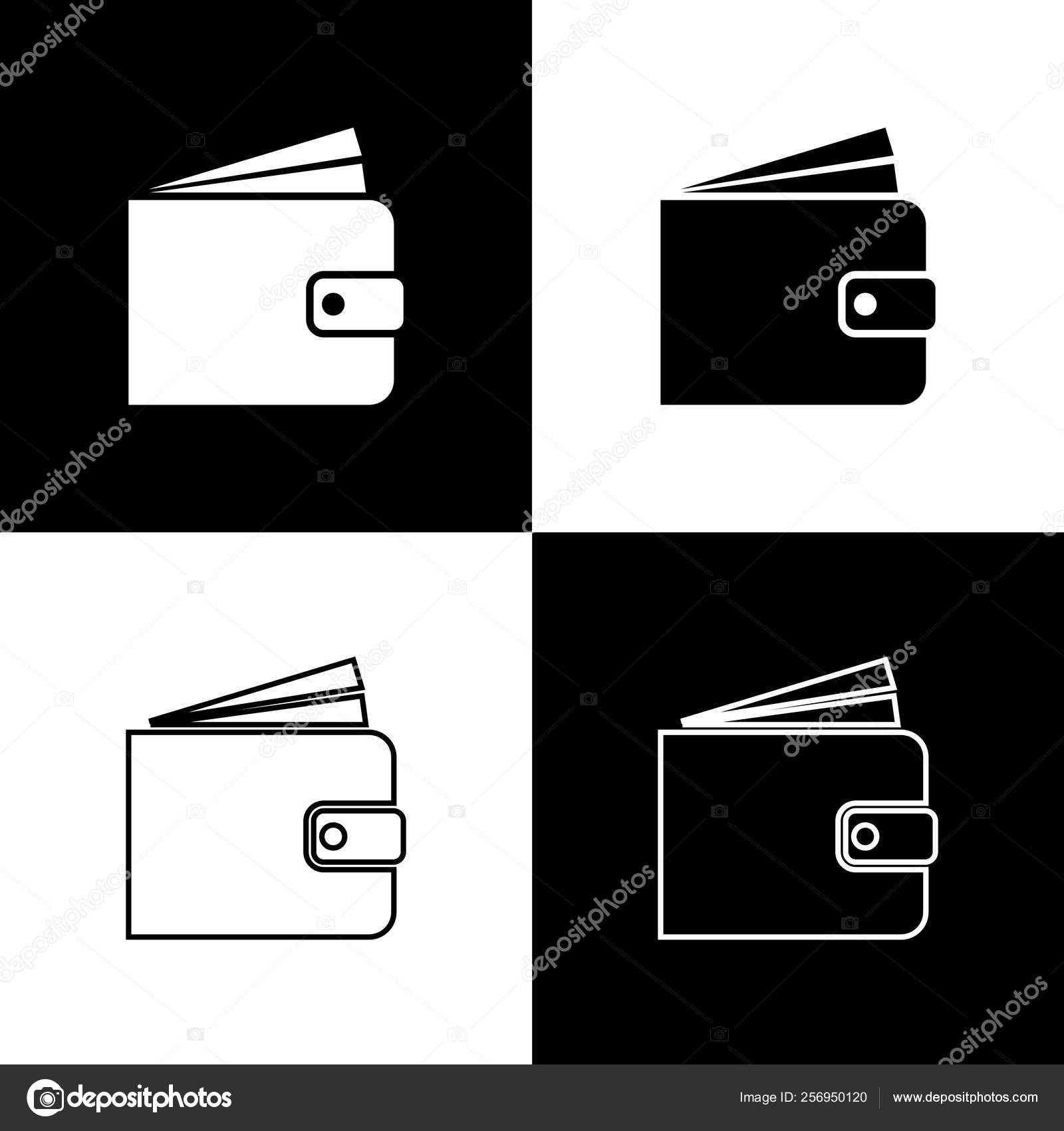 set wallet icons isolated on black and white background line outline and linear icon vector illustration stock vector c vectorvalera gmail com 256950120 https depositphotos com 256950120 stock illustration set wallet icons isolated on html