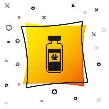 Black Pets vial medical icon isolated on white background. Prescription medicine for animal. Yellow square button. Vector Illustration