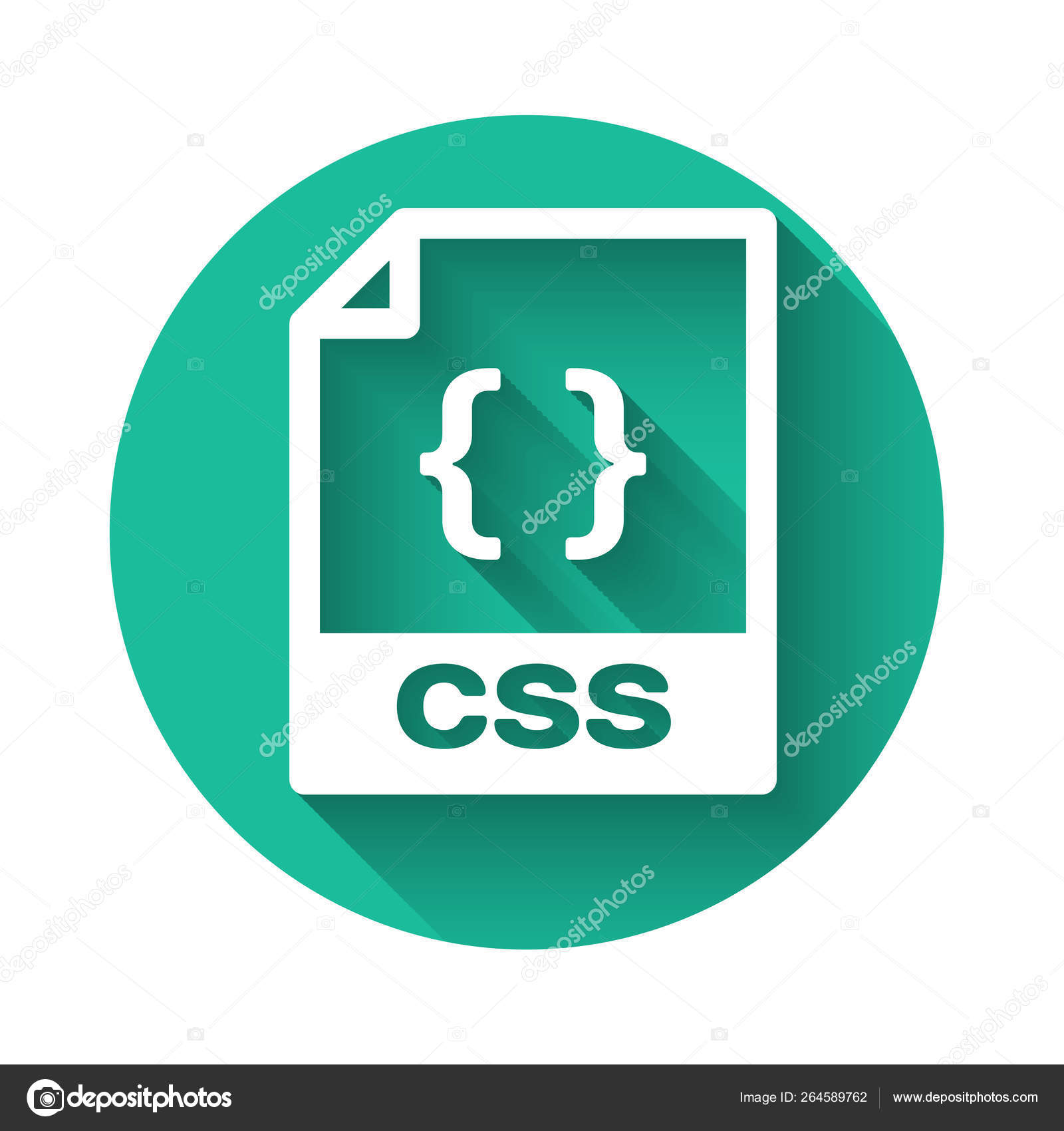 White CSS file document icon  Download css button icon isolated with